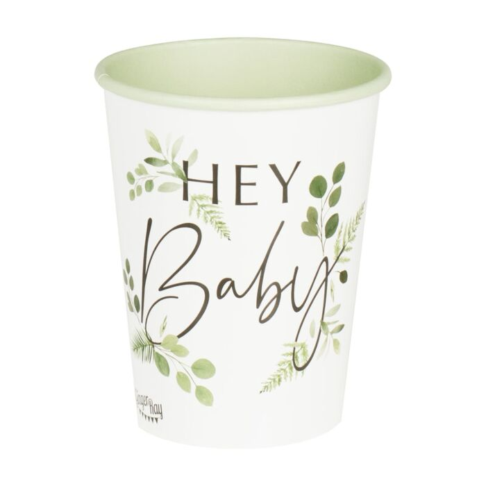 Gold Baby Shower Decor Paper Cups Baby Shower Party Cups Baby Shower Cups 8 Gold Hello Baby Paper Cups Disposable Cups Gender Reveal
