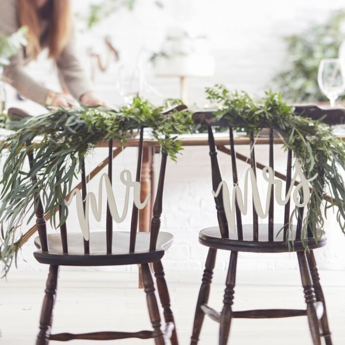 Wooden Mr And Mrs Wedding Chair Signs Ginger Ray
