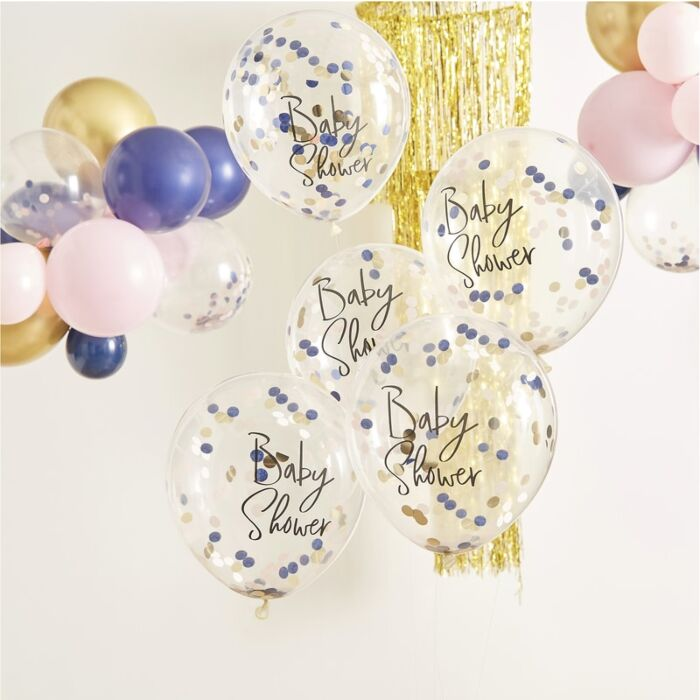 Rose Gold /'Oh Baby/' Confetti Balloons Confetti Balloons 5 Rose Gold Confetti Balloons Rose Gold Baby Shower Decorations