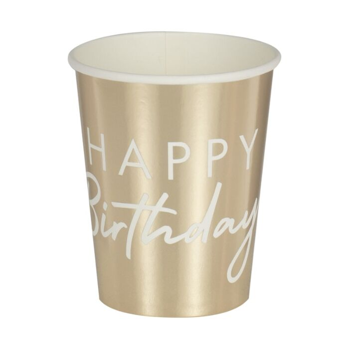 Gold Party Decor Gold Anniversary Birthday Decor Paper Cups Gold Birthday Decor Gold Hen 8 Gold Paper Party Cups Gold Baby Shower